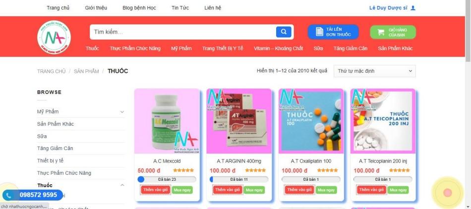 Nhà thuốc Ngọc Anh - sản phẩm uy tín, đa dạng và giá cả hợp lý